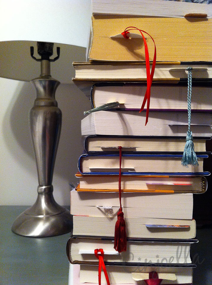 books on my nightstand with watermark